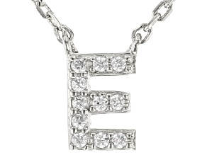 White Cubic Zirconia Rhodium Over Sterling Silver E Necklace 0.09ctw