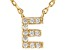 White Cubic Zirconia 18K Yellow Gold Over Sterling Silver E Necklace 0.09ctw