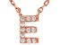 White Cubic Zirconia 18K Rose Gold Over Sterling Silver E Necklace 0.09ctw