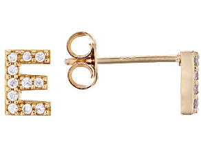 White Cubic Zirconia 18K Yellow Gold Over Sterling Silver E Earrings 0.19ctw
