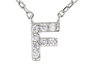 White Cubic Zirconia Rhodium Over Sterling Silver F Necklace 0.12ctw