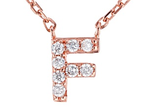 """White Cubic Zirconia 18K Rose Gold Over Sterling Silver """"F"""" Necklace 0.12ctw"""