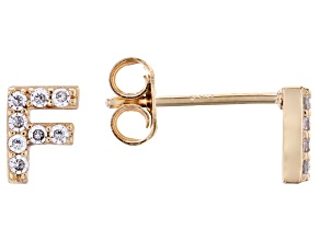 White Cubic Zirconia 18K Yellow Gold Over Sterling Silver F Earrings 0.25ctw