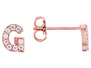 White Cubic Zirconia 18K Rose Gold Over Sterling Silver G Earrings 0.28ctw