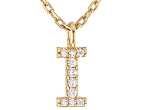 White Cubic Zirconia 18K Yellow Gold Over Sterling Silver I Necklace 0.06ctw