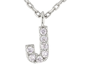 White Cubic Zirconia Rhodium Over Sterling Silver J Necklace 0.11ctw