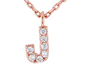 White Cubic Zirconia 18K Rose Gold Over Sterling Silver J Necklace 0.11ctw