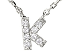 White Cubic Zirconia Rhodium Over Sterling Silver K Necklace 0.12ctw