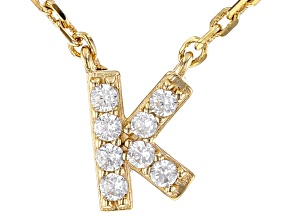 White Cubic Zirconia 18K Yellow Gold Over Sterling Silver K Necklace 0.12ctw