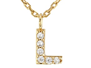 White Cubic Zirconia 18K Yellow Gold Over Sterling Silver L Necklace 0.09ctw