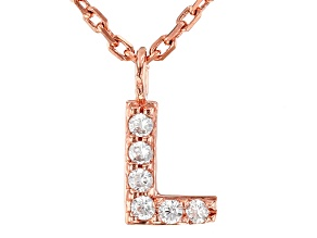 White Cubic Zirconia 18K Rose Gold Over Sterling Silver L Necklace 0.09ctw