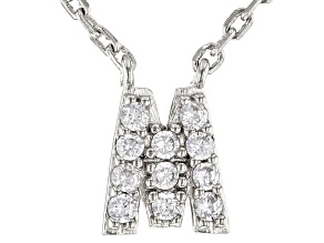 White Cubic Zirconia Rhodium Over Sterling Silver M Necklace 0.17ctw
