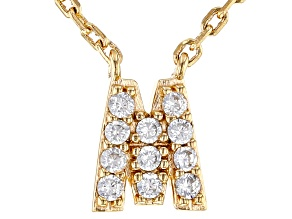 White Cubic Zirconia 18K Yellow Gold Over Sterling Silver M Necklace 0.17ctw
