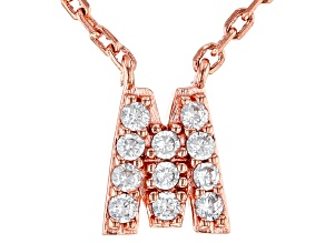 White Cubic Zirconia 18K Rose Gold Over Sterling Silver M Necklace 0.17ctw