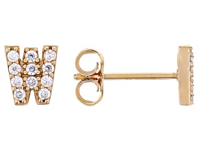 White Cubic Zirconia 18K Yellow Gold Over Sterling Silver M Earrings 0.34ctw