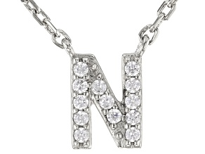White Cubic Zirconia Rhodium Over Sterling Silver N Necklace 0.11ctw