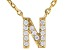 White Cubic Zirconia 18K Yellow Gold Over Sterling Silver N Necklace 0.11ctw