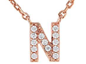 White Cubic Zirconia 18K Rose Gold Over Sterling Silver N Necklace 0.11ctw