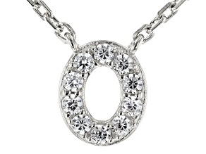 White Cubic Zirconia Rhodium Over Sterling Silver O Necklace 0.15ctw