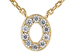 White Cubic Zirconia 18K Yellow Gold Over Sterling Silver O Necklace 0.15ctw