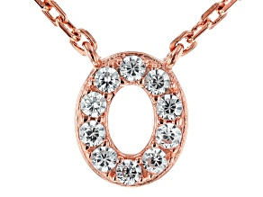 White Cubic Zirconia 18K Rose Gold Over Sterling Silver O Necklace 0.15ctw