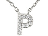 White Cubic Zirconia Rhodium Over Sterling Silver P Necklace 0.09ctw