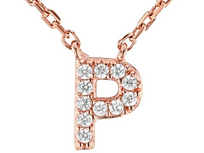 White Cubic Zirconia 18K Rose Gold Over Sterling Silver P Necklace 0.09ctw