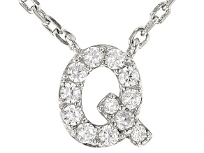 White Cubic Zirconia Rhodium Over Sterling Silver Q Necklace 0.17ctw