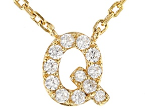 White Cubic Zirconia 18K Yellow Gold Over Sterling Silver Q Necklace 0.17ctw