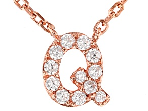 White Cubic Zirconia 18K Rose Gold Over Sterling Silver Q Necklace 0.17ctw