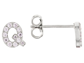 White Cubic Zirconia Rhodium Over Sterling Silver Q Earrings 0.35ctw