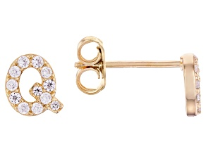 White Cubic Zirconia 18K Yellow Gold Over Sterling Silver Q Earrings 0.35ctw