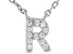 White Cubic Zirconia Rhodium Over Sterling Silver R Necklace 0.10ctw
