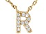 White Cubic Zirconia 18K Yellow Gold Over Sterling Silver R Necklace 0.10ctw
