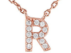 White Cubic Zirconia 18K Rose Gold Over Sterling Silver R Necklace 0.10ctw