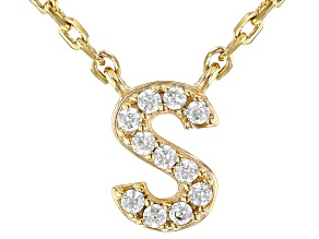 White Cubic Zirconia 18K Yellow Gold Over Sterling Silver S Necklace 0.09ctw