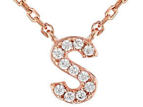 White Cubic Zirconia 18K Rose Gold Over Sterling Silver S Necklace 0.09ctw