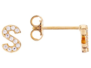 White Cubic Zirconia 18K Yellow Gold Over Sterling Silver S Earrings 0.19ctw