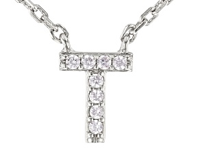 White Cubic Zirconia Rhodium Over Sterling Silver T Necklace 0.04ctw