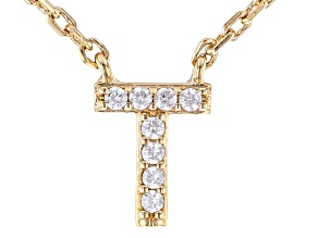 White Cubic Zirconia 18K Yellow Gold Over Sterling Silver T Necklace 0.07ctw