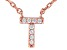 White Cubic Zirconia 18K Rose Gold Over Sterling Silver T Necklace 0.07ctw