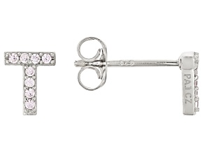 White Cubic Zirconia Rhodium Over Sterling Silver T Earrings 0.14ctw