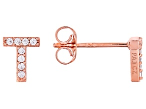 White Cubic Zirconia 18K Rose Gold Over Sterling Silver T Earrings 0.14ctw