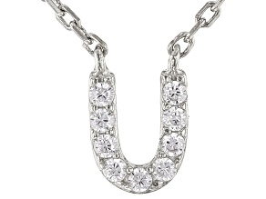 White Cubic Zirconia Rhodium Over Sterling Silver U Necklace 0.01ctw