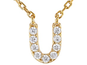 White Cubic Zirconia 18K Yellow Gold Over Sterling Silver U Necklace 0.01ctw