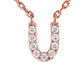 White Cubic Zirconia 18K Rose Gold Over Sterling Silver U Necklace 0.01ctw