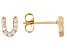 White Cubic Zirconia 18K Yellow Gold Over Sterling Silver U Earrings 0.28ctw