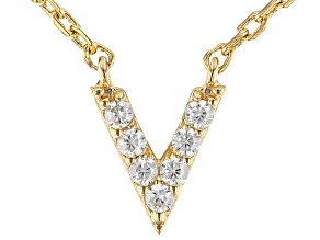 White Cubic Zirconia 18K Yellow Gold Over Sterling Silver V Necklace 0.01ctw