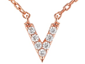 White Cubic Zirconia 18K Rose Gold Over Sterling Silver V Necklace 0.01ctw