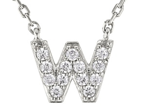 White Cubic Zirconia Rhodium Over Sterling Silver W Necklace 0.20ctw